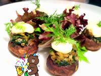 奶油蒔蘿菠菜填餡小蘑菇