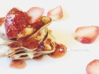 卡士達奶油草莓鬆餅(平底鍋點心)