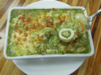 焗烤青醬海鮮燉飯