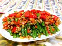 紅蔬肉醬炒長豆