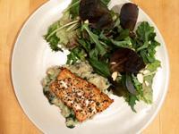 鮭魚菠菜野菇燉飯