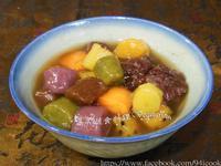 ♥憶柔蔬食♥五色地瓜圓紅豆湯~天然原色