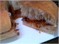 榛果醬x素鬆。懶人三明治~無油的Q軟麵包