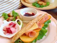 甜柿火腿法式三明治