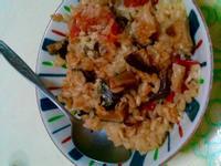 ❤️清冰箱料理❤️蕃茄香菇雞腿炊飯