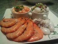 品靚上菜-涼拌雙鮮(白蝦/花枝)佐萬用醬