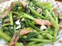 空心菜炒鹹豬肉(青脆版)