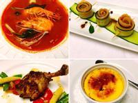 海鮮湯、燻鮭魚捲、香煎雞腿、烤布蕾