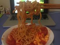 番茄炒蛋拌韓式辣雞麵