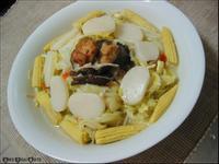 春意料理:鮮菇炒玉米筍佐高麗菜燴年糕