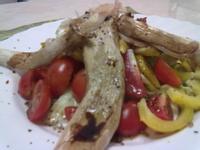 """靜""""廚房~烤杏包菇佐巴撒米哥蔬果沙拉"""
