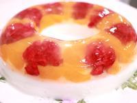 水果鮮花牛奶雙層果凍