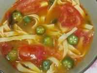 秋葵蕃茄湯寬麵(百味來私房美味)