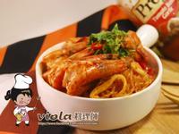 紅醬鮮蝦粉絲煲