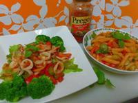 Prego番茄羅勒-涼拌透抽&義大利麵