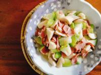菇菇絲瓜燴培根一超簡單