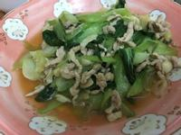 青江菜炒味增肉絲
