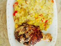 帕瑪森蘑菇燉飯&香料雞腿