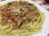 培根蘑菇紅醬義大利麵