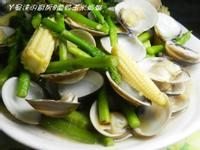 ㄚ曼達的廚房~蘆筍玉米炒蛤蜊