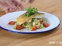 WMF-香煎鱸魚排佐鮮蝦青醬大麥沙拉