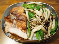 豆豉炒糯米椒蕈菇。簡易便當菜