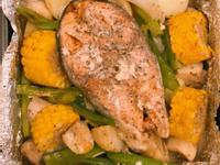 马铃薯杏鲍菇洋葱三文鱼