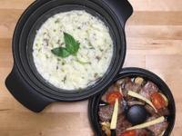 奶油野菇燉飯+蒜煎牛小排