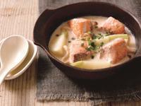 烤鮭魚佐蕪菁的豆漿奶油濃湯