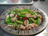 鮮蝦蘆筍炒雙菇