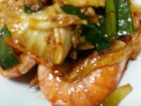 鮮蝦泡菜炒