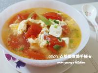 蕃茄豆腐蛋花湯 簡易🍅家常菜。晚餐