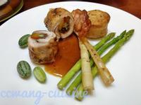 雞腿肉捲佐肉汁,方旦馬鈴薯,蔬菜