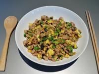 蛋香韭菜炒肉末