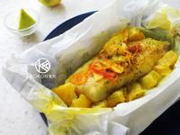 香橙紙包魚(鯛魚片)