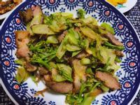 青花筍炒鹹豬肉