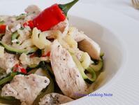 蒜辣鯷魚雞胸櫛瓜麵