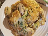 酱油菠菜海蛎子蛋饼