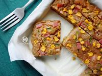 簡易火腿玉米鹹蛋糕(全麥無油無糖)