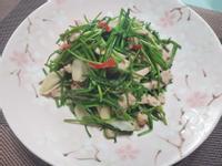 簡單下飯菜~蒜味雞肉炒水蓮