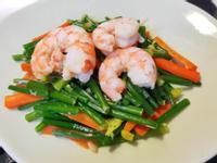 【蒜香蝦韭菜花】全聯嚴選海鮮料理♥