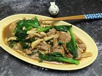 沙茶芥藍爽菇肉片