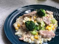白醬香煎豬肉玉米綠花椰燉飯