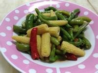 味增醬燒糯米椒炒玉米筍