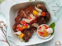 氣炸鹹豬肉佐鮮柚莎莎醬〞解膩的水果莎莎醬