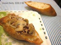 醬燒蘑菇豬肉法國麵包
