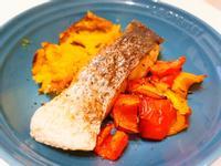 增肌減脂料理~氣炸鱸魚甜椒地瓜~減重好友
