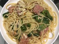 (全素蔬食)芝蔴醬義大利麵炒植物肉