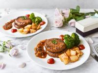 [蔬食]蘑菇醬肉排佐薯粒