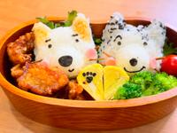 日式小狗造型便當:玉子燒/炸雞塊/飯糰